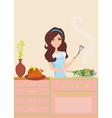 beautiful woman frying in kitchen