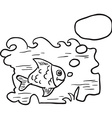 black and white fish in water vector image vector image