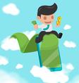 Business Man Green Road success Cloud vector image