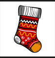 color sketch christmas sock vector image vector image