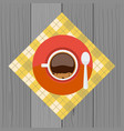 cup and sauser with coffee bubbles spoon from top vector image vector image