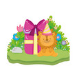 cute and little lion with party hat vector image vector image