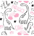 cute brontosaurus and doodles seamless pattern vector image vector image