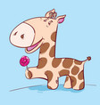cute cartoon giraffe on a blue background vector image vector image