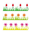 cute flowers and grass cartoon isolated over white vector image