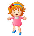 cute little girl in a pink vector image