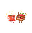 dancing cup of coffee and piece of cake with vector image vector image