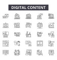 digital content line icons signs set vector image vector image
