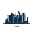 doha skyline monochrome silhouette vector image vector image