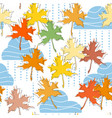 fall seamless pattern clouds rain and maple leaf vector image vector image