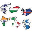 flag in map of GreeceHungaryIcelandIndiaItalyScotl vector image