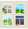 flat windows with landscape vector image vector image