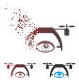 fractured pixel halftone video spy drone icon vector image vector image