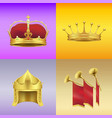 gold kings crowns and chimneys set vector image vector image