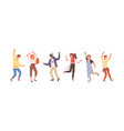 group diverse people dancing isolated on white vector image