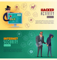 hacker cartoon horizontal banners vector image