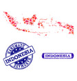 handmade collage of map of indonesia and scratched vector image