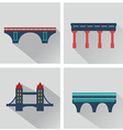 isolated bridges icons set vector image