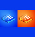 isometric task list icon isolated on blue and vector image vector image