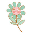 kawaii flower plant thinking with cheeks and eyes vector image vector image