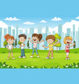 kids in park vector image vector image