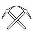 mining pickaxe icon outline style vector image