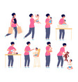 mom and bamother taking care kid flat vector image