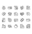 money line icons set of update credit card vector image