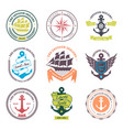 nautical badges and labels collection vector image vector image