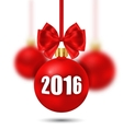 New Year Background with Christmas Balls and Bows vector image vector image