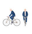 old man dressed in sport clothing riding bike vector image