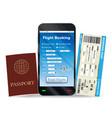 online flight booking and boarding pass passport vector image vector image
