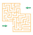 orange labyrinth with green arrows vector image vector image