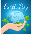 Planet Earth and green leaves in hand vector image vector image
