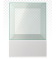 realistic empty transparent glass cube on pedestal vector image