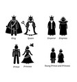 royal family characters pictogram set depicts the vector image vector image