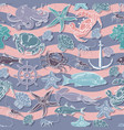 seamless pattern on the marine-themed sea vector image vector image