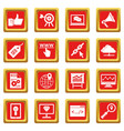 seo icons set red vector image vector image