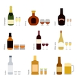 set alcohol bottles with glasses vector image vector image