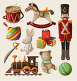 Set of colorful vintage christmas toys for kids