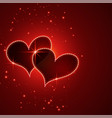 shiny red valentines day hearts background vector image vector image