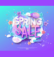 spring sale banner layout abstract shapes cut vector image vector image