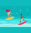 summer water beach sea sports activity surfers in vector image vector image