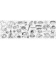 thailand cultural symbols doodle set vector image
