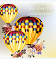 valentines day back with roses and air balloons vector image vector image