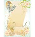 vintage scroll with butterfly and flourishes vector image vector image