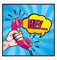 woman hand with phone and chat bubble message vector image vector image