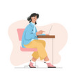 woman working on laptop in office or at home vector image vector image