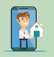 young man from smartphone screen giving house vector image vector image