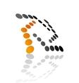Abstract symbol design of black and gold circles vector image